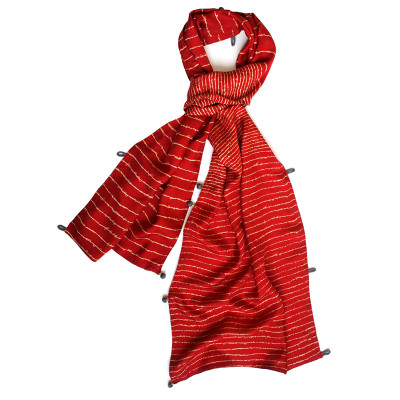 Lyrics wide silk scarf