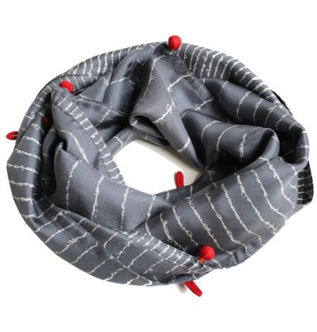 Poem narrow silk scarf