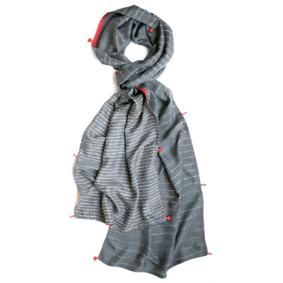 Poem wide silk scarf