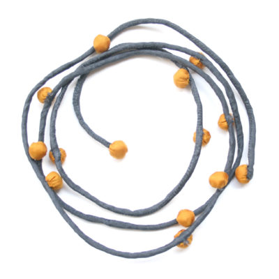 Ochre & grey silk necklace 2