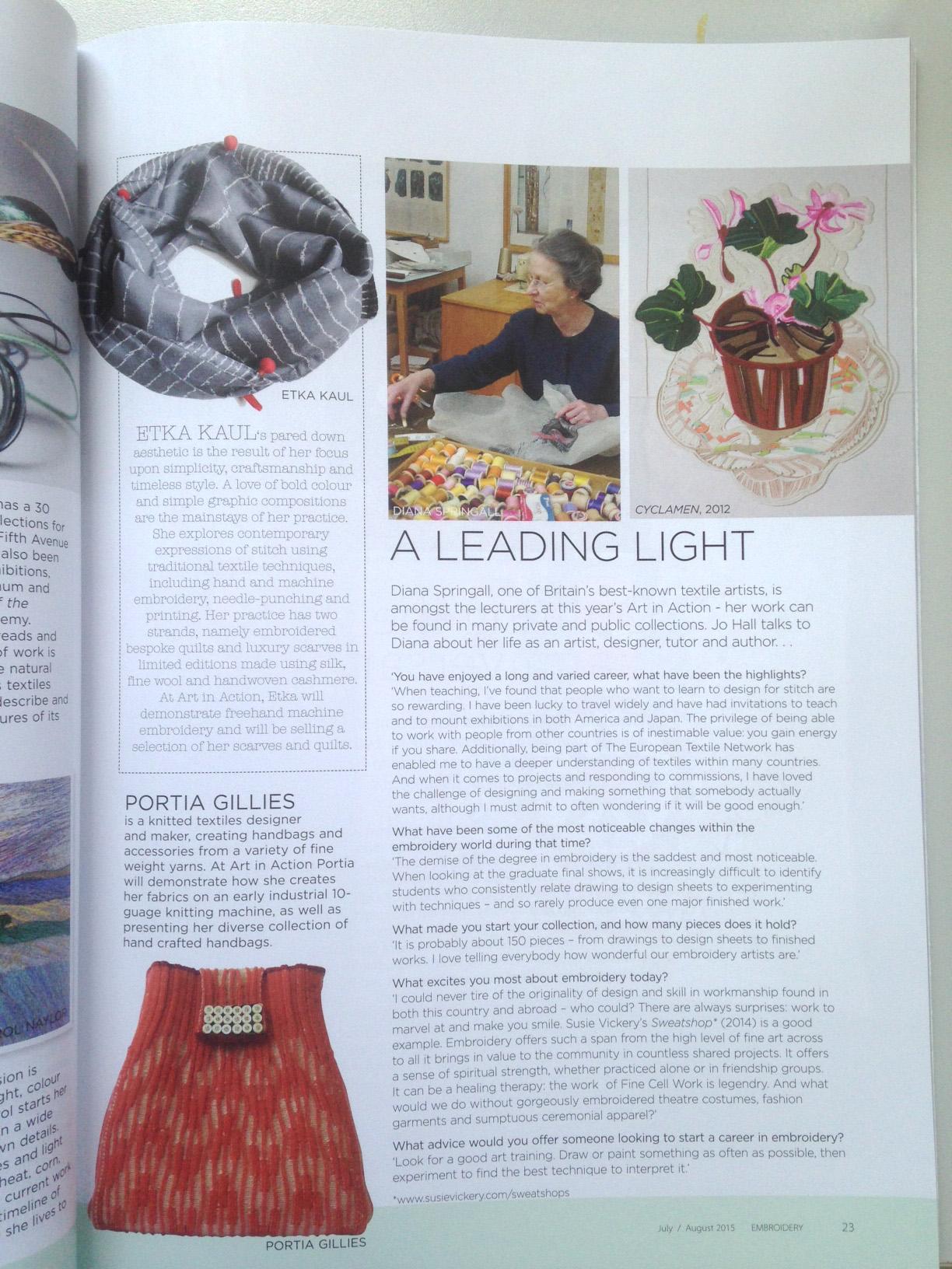 Ekta Kaul in EMbroidery Magazine